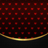 Red hearts pattern and gold ribbon