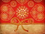 Rope bow on decorative background