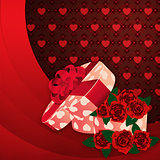 Roses and gift box lovely background