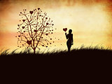 Silhouette of a girl with a heart and tree