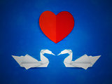 Swans and red heart