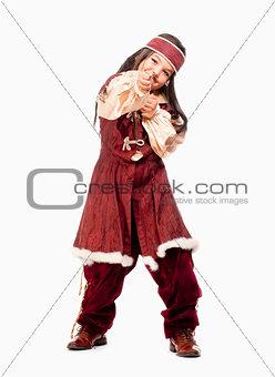 Little Boy in Wig in Pirate Costume