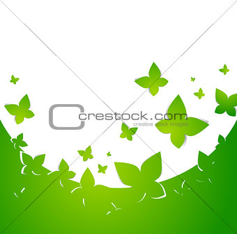 Green Abstract Butterfly Frame