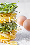 italian pasta tagliatelle, flour and eggs