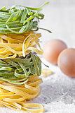 italian pasta tagliatelle, flour and eggs