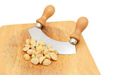 Macadamia nuts with a rocking knife