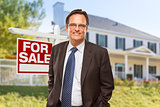 Real Estate Agent in Front of For Sale Sign, House