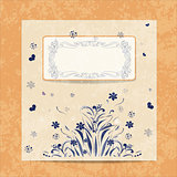 Vector card. Round  oriental pattern on vintage background. Old