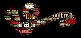 Ebola virus pictogram on dark background