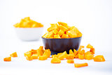 Pumpkin chunks on a bowl isolated