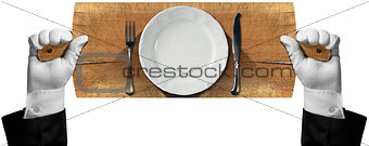 Cutting Board with Plate and Cutlery