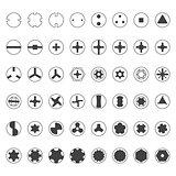 various screw heads silhouette set