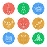 various christmas color back outline icons set
