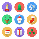 flat design christmas icons set