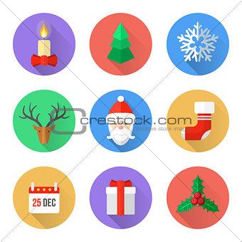flat design christmas icons set