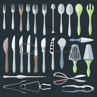 flat color cutlery set