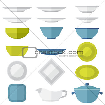 flat design dinnerware set