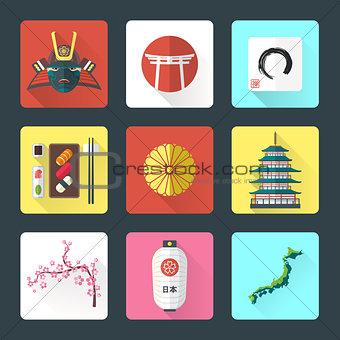 flat design japanese icons set