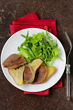 gourmet salad with grilled beef tongue and pear
