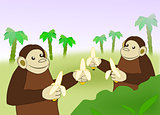 Funny Monkeys with Bananas.