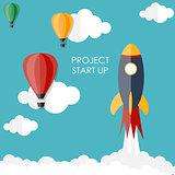 Quick Start Up Flat Concept Vector Illustration