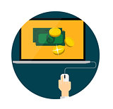Pay Per Click Flat Concept for Web Marketing. Vector Illustratio