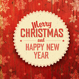 Merry Christmas Design On Red Planks Texture