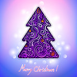 greeting card with lace christmas tree