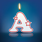 Candle letter A with flame