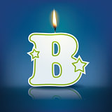 Candle letter B with flame