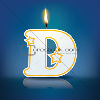 Candle letter D with flame