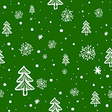 seamless doodle with snowflakes and trees