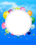 Party banner with flags and ballons