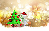 Christmas background with 3d morph man