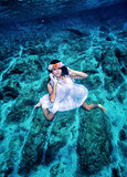 Fashion model underwater