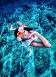 Sexy model posing underwater