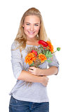 Nice girl with floral bouquet