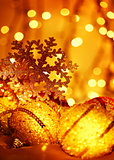 Golden Christmas tree decorations
