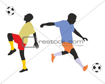 Football players silhouetes