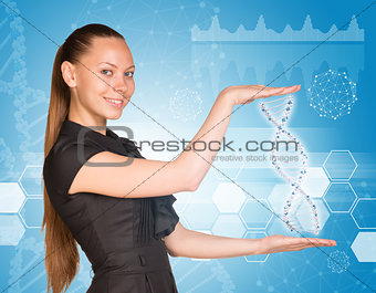 Beautiful businesswoman in dress smiling and holding model of DNA