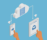 email synchronization of smartphone and tablet pc via cloud server.