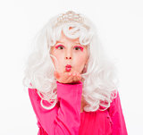 Girl in White Wig and Diadem Posing as Princess
