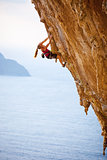 Family rock climber at sunset. Kalymnos Island