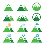 Mountain green vector icons set