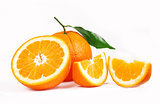 One oranges and half juicy half oranges
