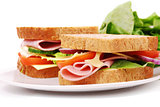 Healthy ham sandwich with cheese, tomatoes