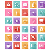 Flat icon set, vector collection with long shadow