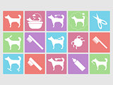 Dog grooming icons set