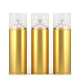 Golden spray paint cans with cap