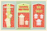 Vintage Christmas and Happy New Year holiday set of sale tags. Christmas sale design. and banners. Vector illustration.